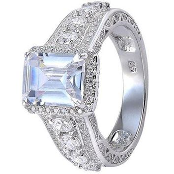 3.3CT Emerald CZ White Gold Plated Wedding Engagement Ring