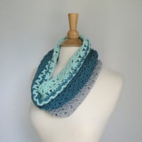 Crochet Cowl Scarf, Green Mint Gray, Striped Color Block, Soft Wool, Circle Tube Scarf, Cozy Neck Warmer