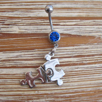 Belly Button Ring - Body Jewelry - Silver Puzzle Piece Charm with Dark Blue Gem Stones Belly Button Ring