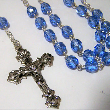 Blue Glass Bead Catholic Rosary, Faceted Blue Beads, Silver Tone Crucifix Necklace, Religious Cross Necklace 218