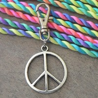 Retro Hippie Peace Sign Symbol Swivel Key Chain Clip Purse Charm Zipper Pull KeyChain Him Keyring Her