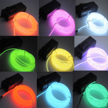 5M/16ft Flexible EL Wire Neon LED Light Rope F Party Car Decorati+BATTERY PACK