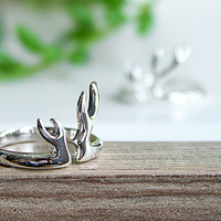 Deer Horn Silver Ring Sterling Ring .925 Silver Ring Personalized Ring