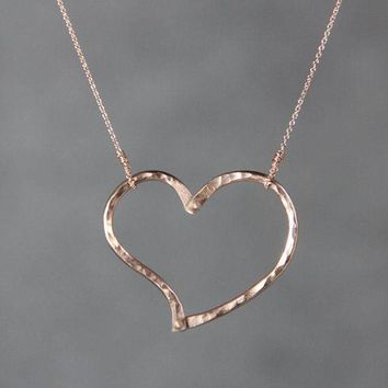 Textured hammered heart 14k rose gold simple pendant necklace Bridesmaids gifts Free US Shipping handmade Anni Designs