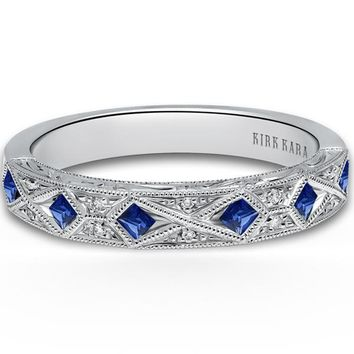 "Kirk Kara ""Charlotte"" Compass Set Princess Cut Blue Sapphire Wedding Band"