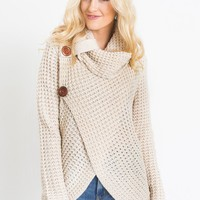 Cece Beige Knit Cowl Neck Sweater