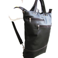 Leather Work Bag - On the Go Bag - Unisex Backpack messenger combo - Dark Brown Smooth Leather Briefcase