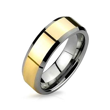 Simple Silver Gold Two Tone Couples Wedding Band Tungsten Rings 8MM