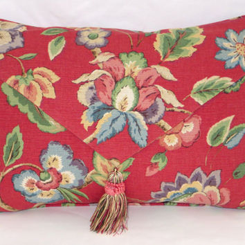 Red Floral Throw Pillow Envelope Style with Tassel Watermelon Pink Jacobean Blue Oblong Rectangle Cover and Insert Included Ready Ship OOAK
