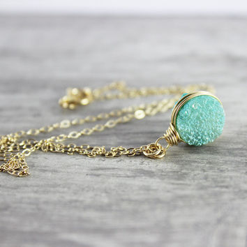 Turquoise Druzy Necklace, Drusy Gemstone Necklace, Dark Green Necklace, Wire Wrap Necklace, Small Pendant Necklace, Gold Fill Necklace
