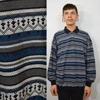 90s Mens Shirt XL Striped Pullover Collar Vintage Preppy Hipster Soft Grunge Back Blue Oversized 1990s Men's Clothing Geometric Dark