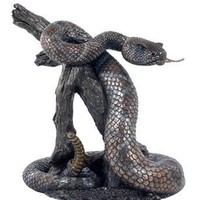 Rattle Snake on Branch Bronze Statue - 8400