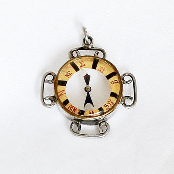 Antique Silver  Compass Charm