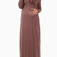 Mocha Cowl Neck Long Sleeve Maternity Maxi Dress