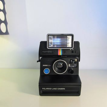 Vintage Polaroid Camera, Polaroid Land Camera 1001 Revue Black color Blue button Camera SX70 with Flash Polatronic 1 Retro Lovers Camera 70s