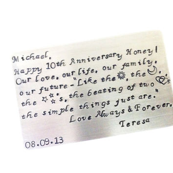 10 Year Anniversary| Anniversary Gift For Him |  Birthday Gift | Anniversary Gift | Design Your Own Card, Or Use Mine | Wallet Insert Card