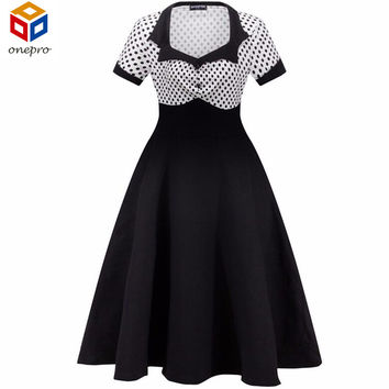 1950s Vintage Audrey Hepburn Dress Women's Short Sleeve Polka Dots Cotton Swing Party Dress Long Vestidos With Button