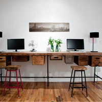 """Reclaimed wood desk with steel pipe legs and 2 drawers included, 48"""" x 26"""" x 30"""" h, 1.65"""" top"""