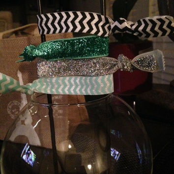 Chevron and Glitter Hair Tie Set of 4