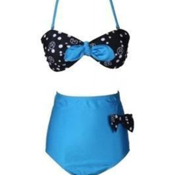 Virtuoso Bathing Suit Bottoms High Waisted Attach Bowknots