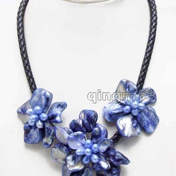 Big 1 piece 70mm and 2 piece 50mm Dark Blue Baroque Shell Flower and Natural Pearl pendant Black 6mm Rope 18'' Necklace-nec6363