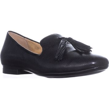 naturalizer Elly Slip-On Tassel Loafers, Black Leather, 5.5 US / 35.5 EU