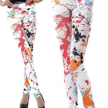 Paint Splash Printed Leggings - Women's Fashion Leggings