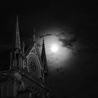 SALE, Notre Dame Paris by Night, black and white photography, fine art print