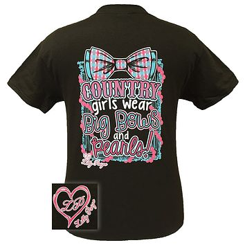 Bjaxx Lilly Paige Preppy Country Girls Wear Big Bows & Pearls Heart Southern Girlie Bright T Shirt