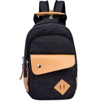 Women's Small Canvas Backpack Campus School Bookbag Travel Daypack + Free Gift Elephant Ring