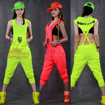 Hip Hop Dance Costume performance wear women romper European playsuit loose overalls harem jazz  jumpsuit sports one piece Pants