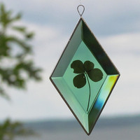 Genuine Four Leaf Clover as a Green, Diamond Shaped, Beveled Glass Suncatcher