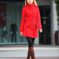 Red Cashmere Coat Fitted Wool Winter Coat Casual Women Coat Long Jacket - NC258