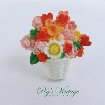 Vintage Flower Basket Brooch/Spring Hallmark Plastic Flower Bouquet Pin