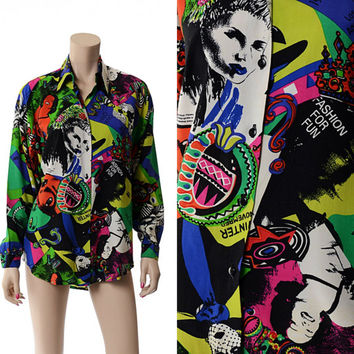 Vintage 90s Graphic Faces Novelty Top 1990s Emo Fashion Model Contempo Punk New Wave Grunge Blouse Oversize Slouch Blouse Slouchy Shirt