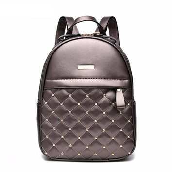 Backpack Beaded Embossed fashion Casual preppy style school bag