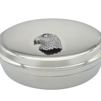 Hawk Bird Head Pendant Oval Trinket Jewelry Box