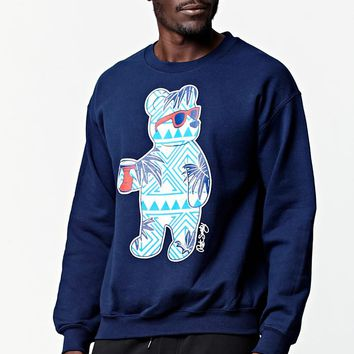 Riot Society Bahama Bear Crew Neck Sweatshirt - Mens Hoodie - Blue