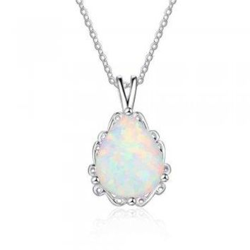 Sterling Silver Pear Created White Opal Pendant Necklace