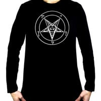 White Inverted Pentagram Sabbatic Baphomet Men's Long Sleeve T-Shirt