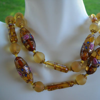 Applied Art & Satin Glass Necklace