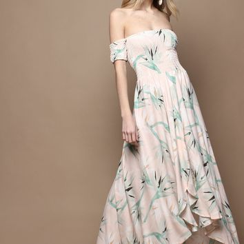 Bird Of Paradise Floral Print Smocked Bohemian Maxi Dress - Pale Pink