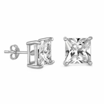 .925 Sterling Silver Casting Setting Princess Cut Clear CZ Stud Earrings in 2mm-10mm Square