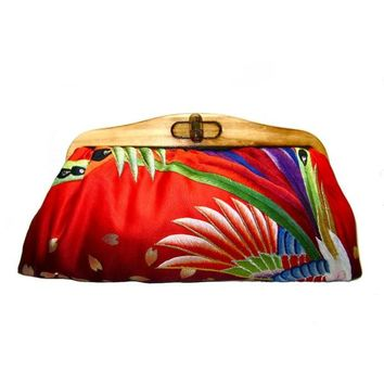 Kimono Clutch-Jewelled Feather Peacock | Uroco