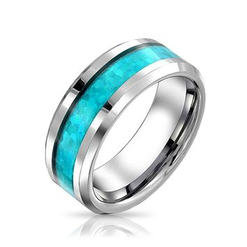 Simulated Blue Turquoise Couple Wedding Band TungstenRing ForMen 8mm