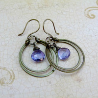 Small Hoop Earrings with Blue Mystic Quartz - Niobium Ear Wires - Gunmetal & Gemstones Collection