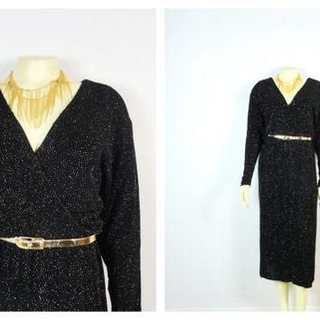 Vintage Dress 70s Sparkling Black Dress | Little Black Dress| Black and Silver Dress| Disco Dress| Date Dress| Long Sleeve Dress|fits M L XL