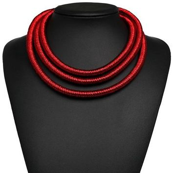 "14"" coil 3 row multi layered choker bib necklace"