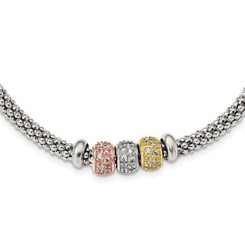 Sterling Silver Rose And Yellow Gold Tone CZ Beads Mesh Bracelet