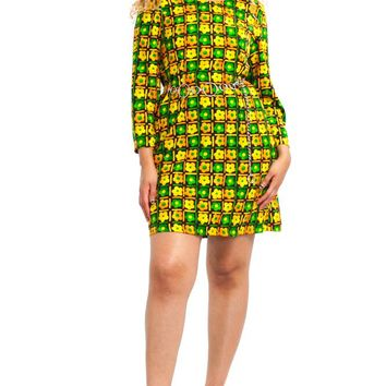 Vintage 70's Groovy Mama Flower Check Dress - M/L